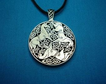 Small Tri Celtic Horses Circular Pendant in Silver Pewter, Handmade, Handcast STK054