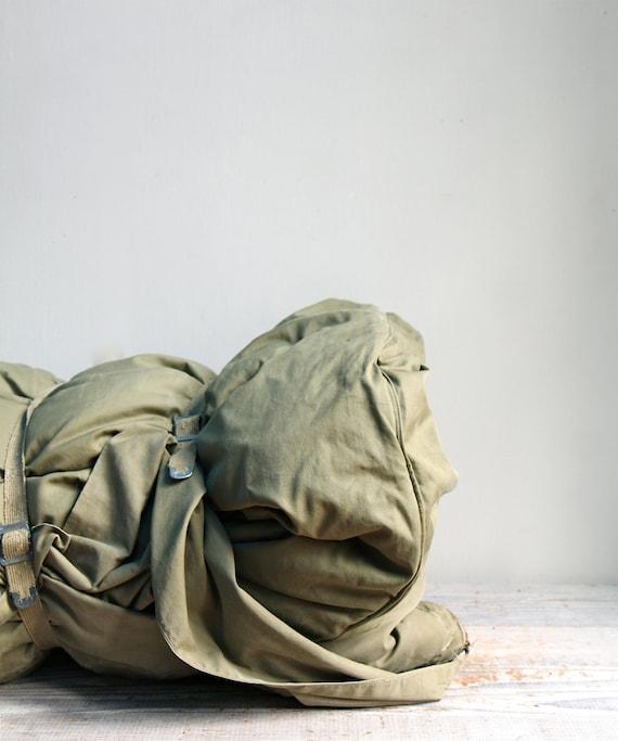 Vintage Down Filled Military Sleeping Bag / Olive Drab, Vintage Camping Gear