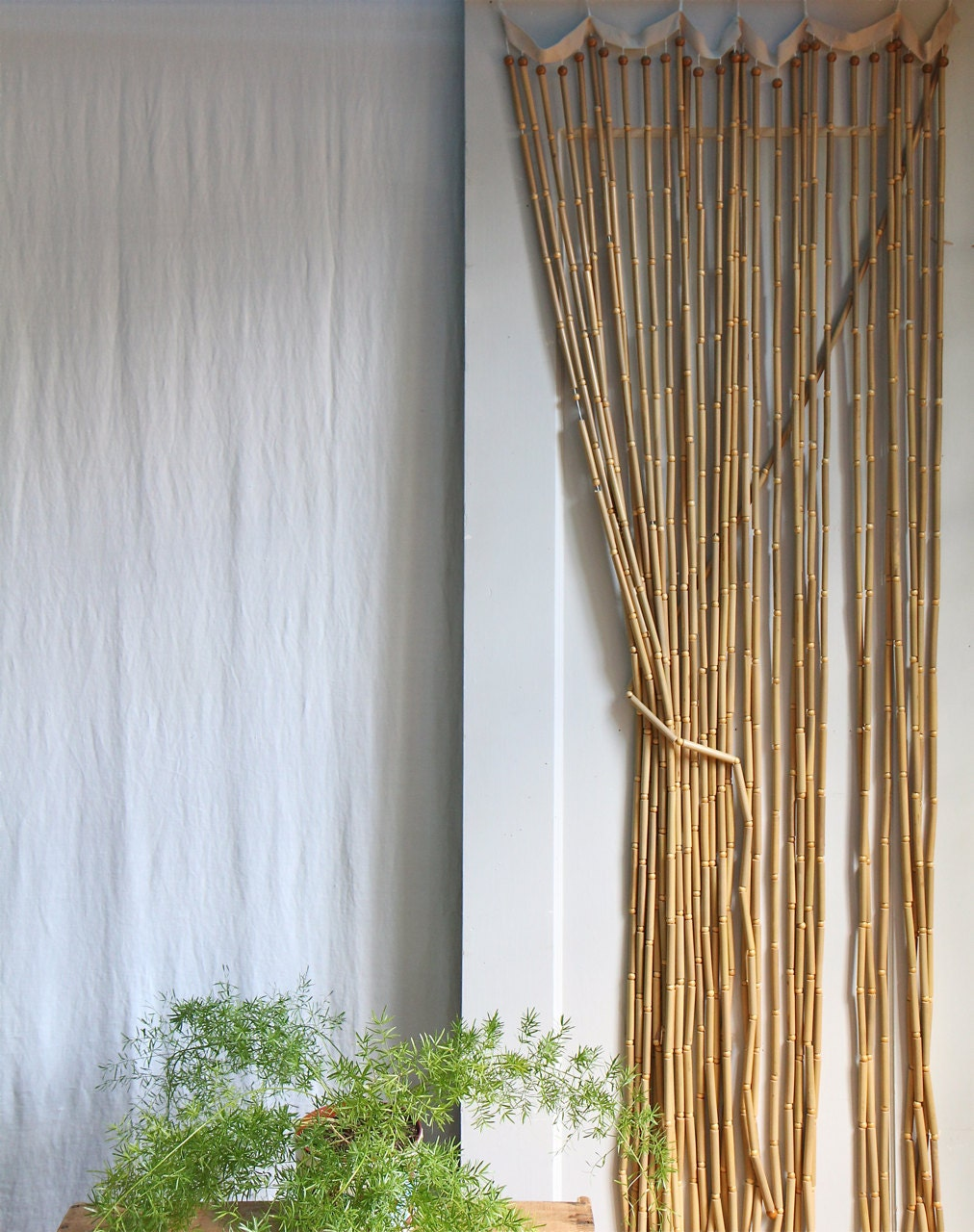 vintage 1970s wood beaded curtain boho style by ethanollie
