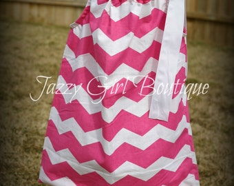 Girls Pillowcase Dress Pink Chevron Stripe with Large Light White Bow Over One Shoulder  Sz 6mo, 12mo, 18mo, 2T, 3T, 4T, and 5