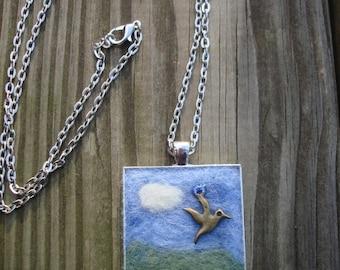 Needle Felted Pendant Necklace Brass Bird Charm Sky Cloud