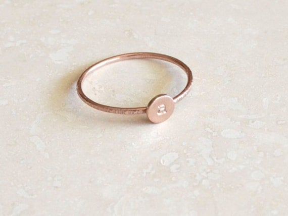 Rose Gold Monogram Ring - Stackable Initial, Custom Letter, Personalized Initials, Stacking, Rose Gold Initial Ring