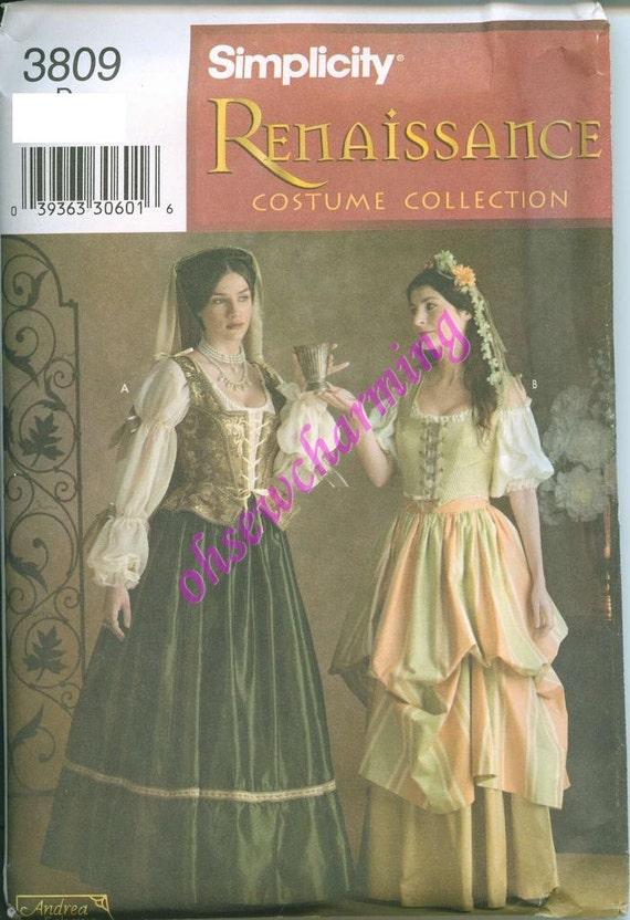 Renaissance Dress Gown Costume Pattern Simplicity 3809 Sizes 4-6-8 UNCUT