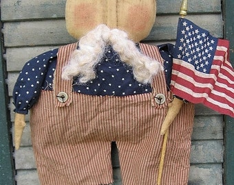 Uncle Sam EPATTERN- primitive country americana cloth doll craft digital download sewing pattern-PDF - 1.99