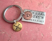 Grande GPS Coordinates Keychain & Two Accent Charms - Hand Stamped charms, customize engraved metal square, for someone who has everything