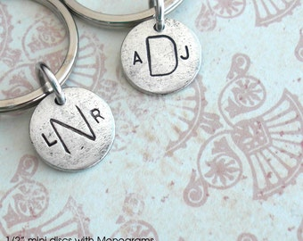 Mini Monograms ..  Sweet metal charm .. Couples, Initials, Date, Love, Cute .. see photos for ideas ..silver, copper or gold finish