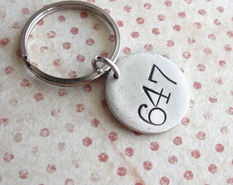 Room Number Key Chain .. Hand Stamped customized antiqued metal charm .. Round tag, Copper, Silver, Gold .. 007 Super Sexy Secret Agent Man