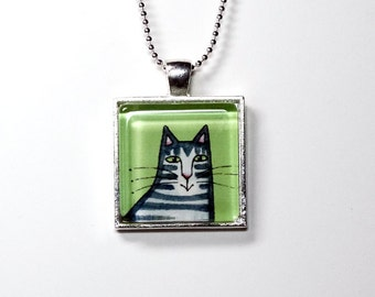 Cat Necklace Jewelry SALE/ Gray Tabby Glass Pendant in Silvertone Setting