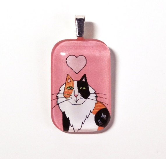 Lonhair Calico Cat Pendant with Pink Heart... Wearable Art Jewelry