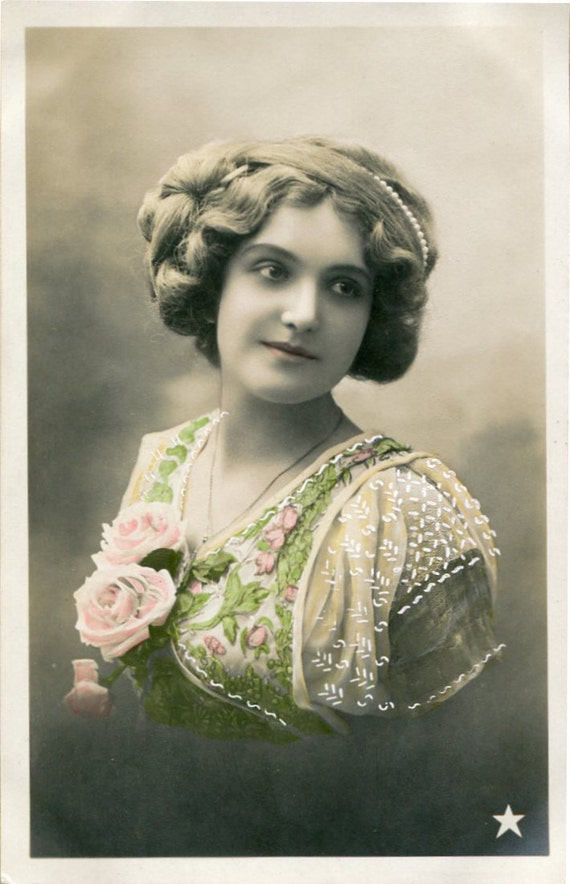 Vintage French hand tinted photo postcard - Lady with