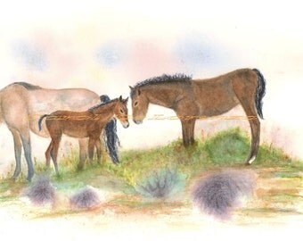 Watercolor Painting, Horse Art, Horse Painting, Horse Watercolor, Horse Art Print, Wild Horses, Print Titled Saying Hello