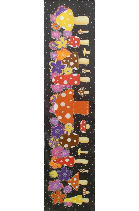 Mushroom scarf, Hand painted scarf, Cute gifts for girlfriend, Cool gifts for women, Gifts for your wife, Luxury gifts, Pretty scarf