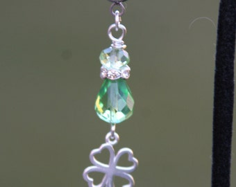Lucky Clover N Green Crystals DeSIGNeR Belly Button Ring Perfect for St Patricks Day Irish Luck