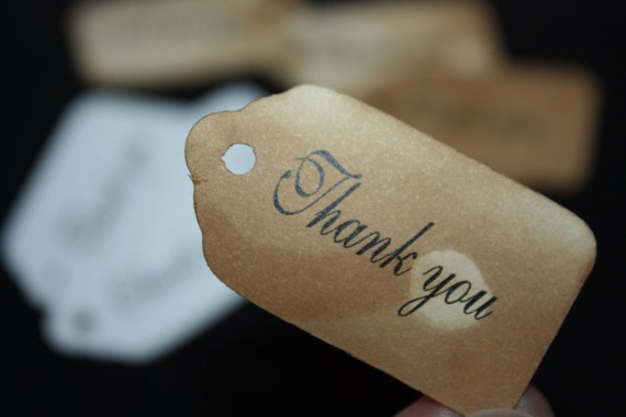 Thank you 100 extra SMALL FAVOR Tag  7/8 x 1 5/8 Tag