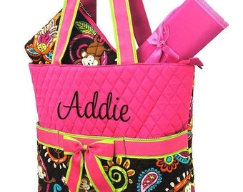Diaper Bag Personalized Monkey Hot Pink Quilted Monogrammed Baby Tote
