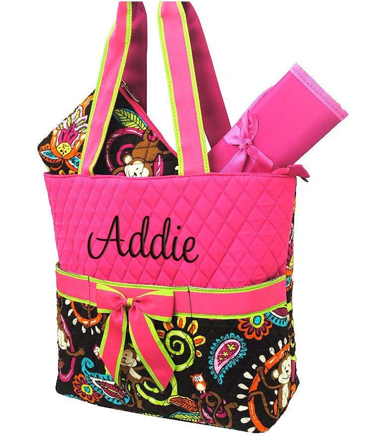 diaper bag personalized monkey hot pink quilted monogrammed. Black Bedroom Furniture Sets. Home Design Ideas