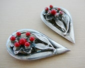 Vintage .. Dress Clip, Ruby Red Flower Leaf Clip Silver Tone repurpose upcycle