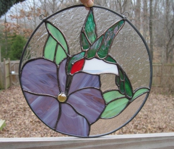 Stained Glass Suncatcher Panel Hummingbird By