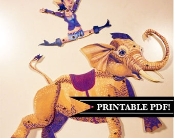 DIY Circus Elephant & Lady Printable PDF Paper Puppet Doll Set, Yellow, Purple For Paper Play, Paper Crafts