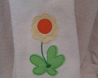 Kitchen Towel with Flower Applique