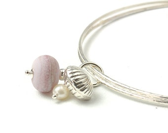 Silver Charm Bangles | Sterling Silver Bangles with Glass and Shell Charms | Slim Stacking Bangles | Dusky Pink | Coast Collection