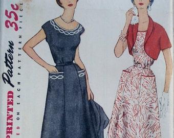 Vintage 1950s Dress & Bolero Jacket Pattern Simplicity 4651 Bust 32 Factory Folded
