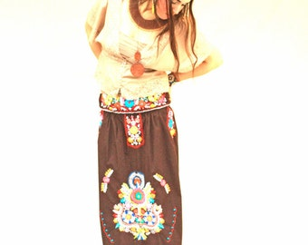 Mexican Dress Hand Embroidered Skirt Vintage Bohemian
