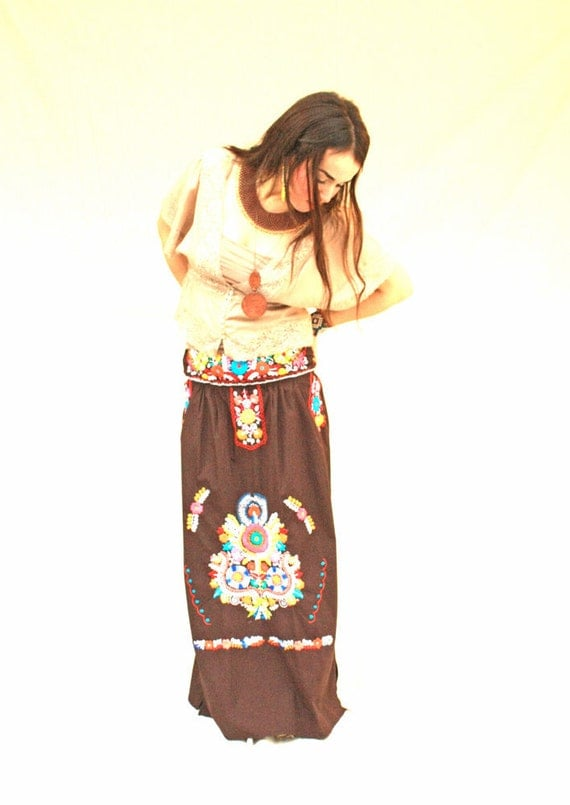 Mexican dress hand embroidered skirt vintage by aidacoronado