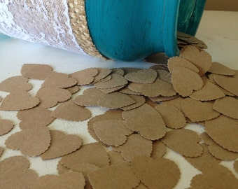 Natural Heart Wedding Confetti- Vintage Shabby Chic Rustic - wedding table decoration, table scatters, baby shower decoration