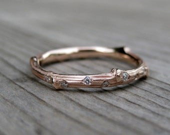 Rose Gold Diamond Twig Wedding Band: 7 Diamonds; White, Yellow, or Rose Gold