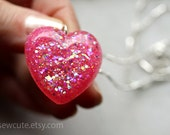 Pink Necklace, very bright girly pink glitter heart pendant made of cast resin & twinkly glitter... handmade by isewcute