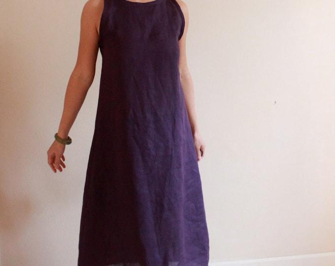 custom slim shoulder linen dress made to fit listing / made to order linen dress / minimalist linen dress / purple linen or custom color