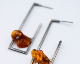 Bloc 3: sterling silver and baltic amber (your choice of color - made to order) - earrings