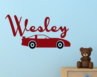 Car Decal Monogram Kids decor for boys bedroom, playroom wall decals, personalized gifts