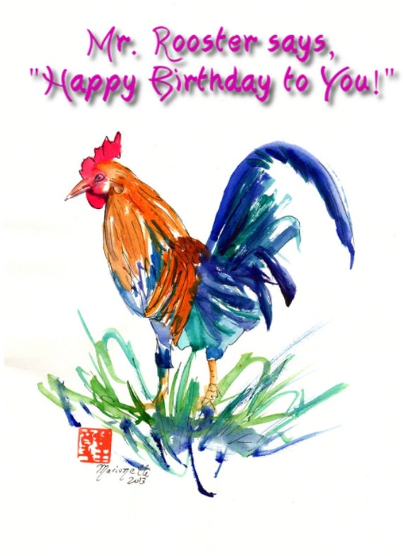 Printable Diy Happy Birthday Card 5x7 Pdf Kauai Rooster From