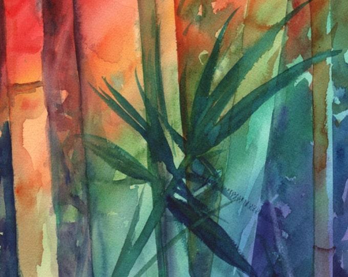 Bamboo Original Watercolor Paintings, Tropical leaf, kauaiartist, rainbow bamboo art, aquarelle originals, Hawaiian art, hawaii decor