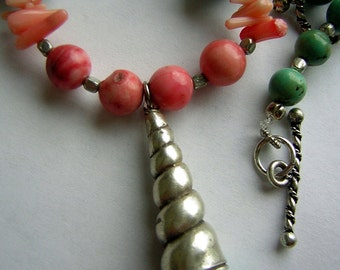 Sea Shell Necklace Sterling Silver Coral and Chinese Turquoise Beads - Custom Made Artisan
