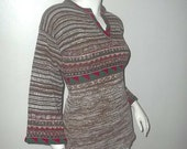 Vintage BELL SLEEVE Bohemian Hippie 70's Rustic Pullover Sweater S