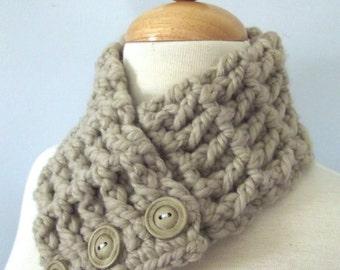 Linen Scarf Linen Scarflette Womens Scarf Warm Womens Scarflette Wheat Button Scarf Button Scarflette Linen Neckwarmer Linen Cowl Crochet