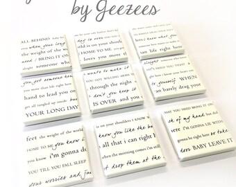 Lyrics Word Art Typography Wall Split Canvas of ONE Word Art image split (9) 10x10 canvas wall display