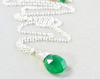 Green Onyx Necklace, Emerald Green Necklace, Sterling Silver Necklace
