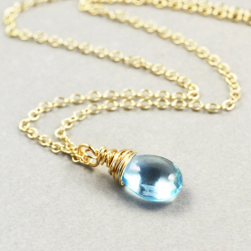 blue topaz necklace december birthstone bridesmaid gift. Black Bedroom Furniture Sets. Home Design Ideas