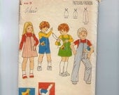 1970s Vintage Girls Sewing Pattern Butterick 5873 Girls Boys Child Jumper Overalls Toy Stuffed Goose Size 3 Breast 22 1975 70s  99