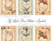 Large digital download collage My Hearts desire Vintage Valentine tags roses hearts ATC ACEO gift tags ECS buy 3 get one free