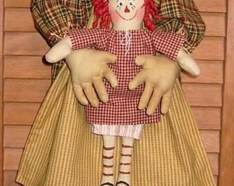 Raggedy Annie, Annie Bag Doll with Baby, Epattern, PDF, Downloadable Digital Pattern