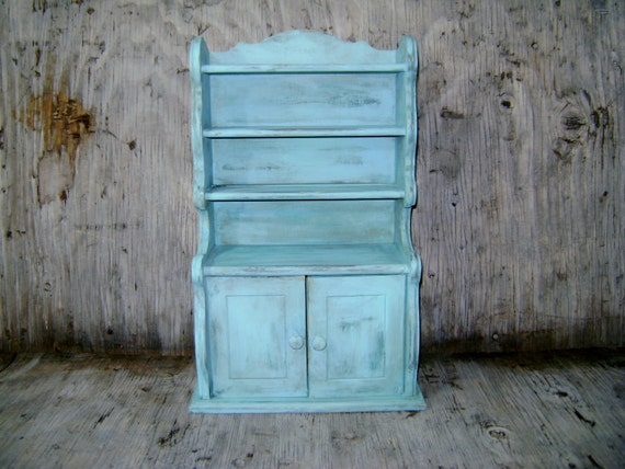 Distressed Turquoise Wood Cabinet Shelf Display Storage Rack Rustic