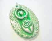 Green and Silver Earth Goddess Handmade Polymer Clay Pendant