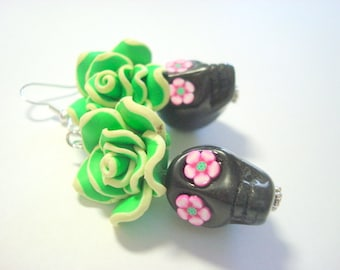Green, Black, and Pink Day of the Dead Roses and Sugar Skull Earrings Large