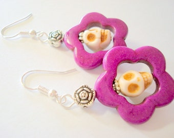 Sugar Skull Earrings Purple and Ivory Day of the Dead Skull Earrings