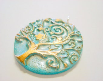 Light Turquoise and Bronze Tree of Life Handmade Polymer Clay Pendant